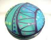 Moogin beads -Lampwork glass cabochon turquoise, green and purple- 30mm SRA