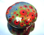 Moogin -extra large enamelled poppy lentil focal bead - lampwork - sra