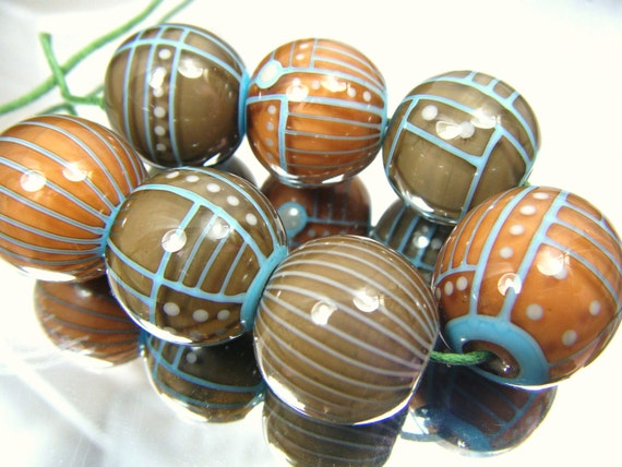 Moogin beads -earth tones angular bead set - lampwork 20mm- SRA