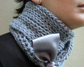 Hank knit Grey scarf with Satin Ribbon Fall Knitted Fashion