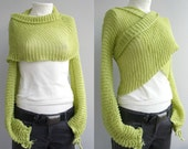 Long Sleeve Pistachio Green Knit Bolero - Scarf - Shawl - Neckwarmer - Mother's day Gift under 100USD