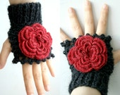 Black  Fingerless Gloves With Red Rose Wedding Bridal Gloves Bridesmaids Gloves gift under 50 Valentines Day Gift