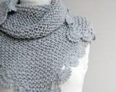 Handmade Silver Grey Triangle  Midi Shawl scarf collar Capelet Cowl Christmas Gift Under75