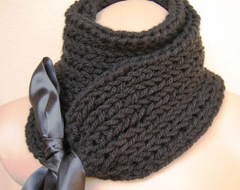 Black Scarf Cowl Neckwarmer Collar Shawl Christmas Gift for Her fashion gift under 50