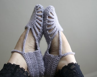 Hand Crochet Silver Grey Slippers