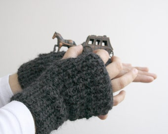Unisex Charcoal Handknit Fingerless Gloves  For Men for women and girl Men Fashion Fathers Day gift