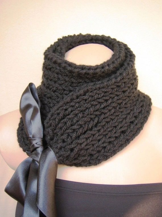 Black Scarf Cowl Neckwarmer Collar Shawl Christmas Gift for Her fashion gift under 50