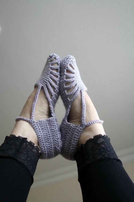 Hand Crochet Silver Grey Slippers