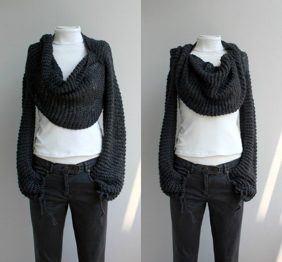 Hand Knitted Long Sleeves Charcoal Wrap Bolero Shrug Over Size With Scarf / Knitted Accessories / Mother's day gift / for Women for her