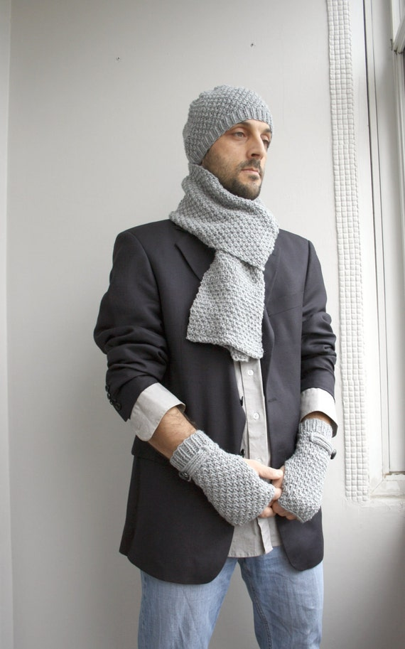Handknit Wool Hat // Scarf // Mittens Gift Set For Men For MY DAD gift under 100 Fathers Day Gift