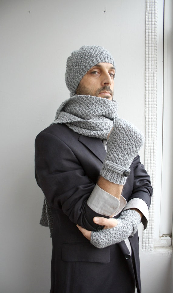 Handknit Wool Mittens gloves  For Men For My DAD perfect Christmas Gift