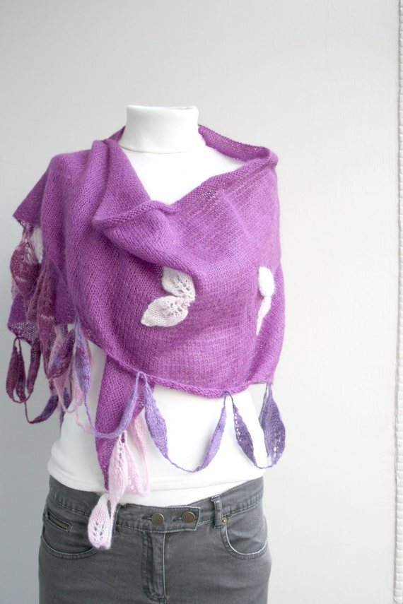 Angora Wool Purple Triangle Shawl With Batik Leafage gift for women  for girls for Mom Mother's Days Gift