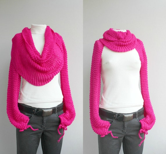 Long sleeve Fuchsia Bolero Scarf Shawl Neckwarmer Christmas Gift under 100