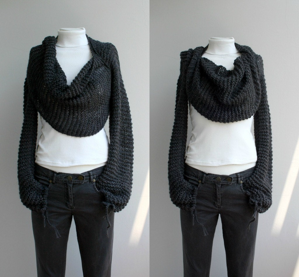 Hand Knitted Long Sleeves Charcoal Wrap Bolero Shrug Over Size