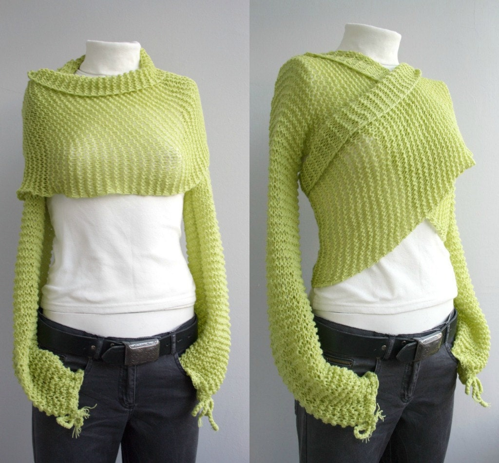 Hand knitted Long Sleeve Pistachio Green Bolero Shrug