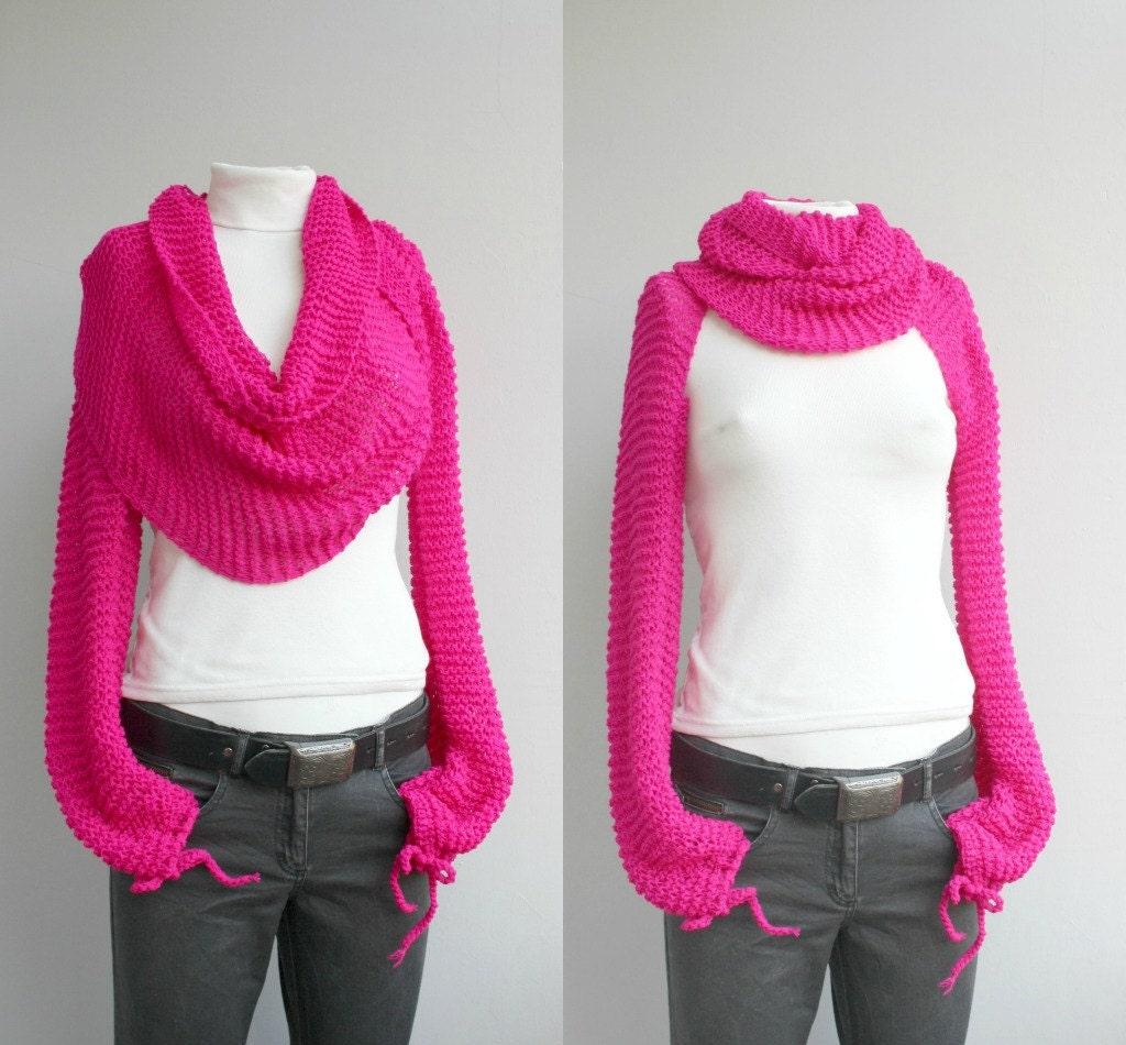 Bolero Scarf Shawl Neckwarmer Crochet Pattern : Long sleeve Fuchsia Bolero Scarf Shawl Neckwarmer Christmas
