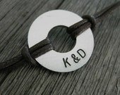 Men's Bracelet with 2 custom initials, Large ALUMINUM Disc with BROWN cord, MB 107