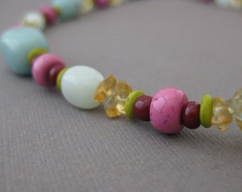 Pink and Turquoise Necklace with citrine and  Sterling Silver Clasp, Jewelry by InformalElegance on Etsy, NB 1067
