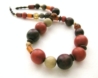 Chunky Necklace with Fall Colors and wooden beads, Bulky Natural Necklace Sterling Silver Clasp, NB 1091