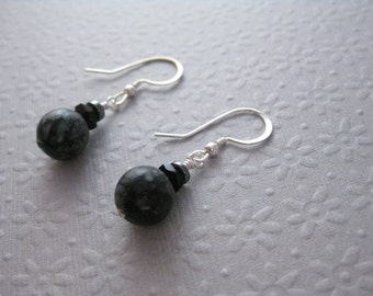 CLEARANCE Earrings, E 189, Black Jasper with Hemalyke, sterling silver