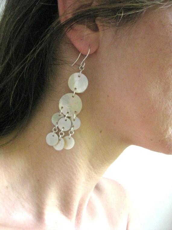 CLEARANCE Dangling Shell Chandelier Earrings with Sterling Silver Hooks, E 178 WAS 39.00