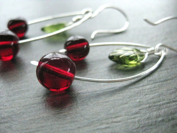 Cherry Earrings, Dark Cherries with Stem and Leaf on Sterling Silver Wire with handmade sterling silver ear wires, E 203