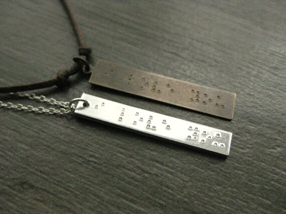 His and Hers, Braille 'I LOVE YOU' stamped necklaces,  Anniversary Gift, Wedding Day, Girlfriend and Boyfirend, Husband and Wife, Couple Set