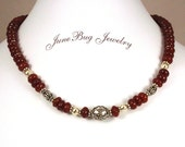 Carnelian Gemstone and Bali Necklace
