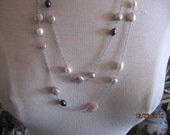 53 inch Long Sterling Silver And Pearl Necklace