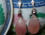 Pear Shaped Pink Opals and Faceted Garnet Earrings