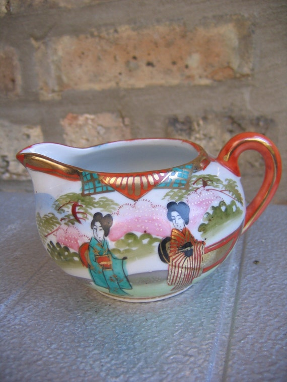 Vintage Hand Painted Made in Japan Nippon China-Geisha Girl Ocean Scene-Red or Chocolate Set Creamer