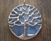 Beautiful sky blue and silver stained glass tree of life pendant