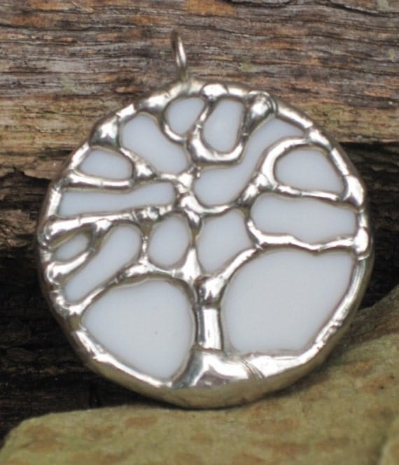 Small white & silver circle stained glass oak tree pendant