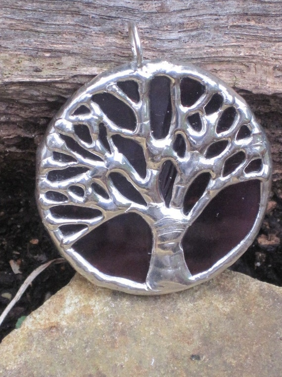 Round burgundy and silver stained glass oak tree pendant