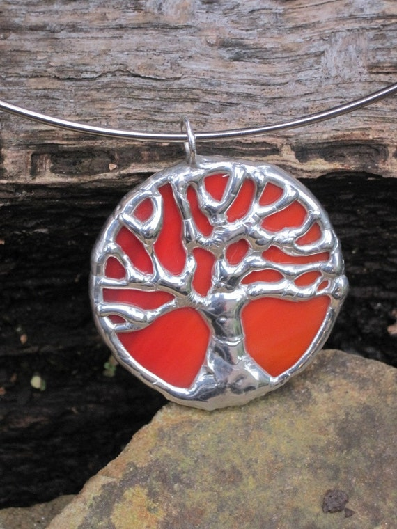 Small orange & silver stained glass tree of life pendant