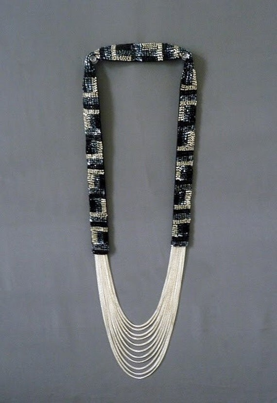 Symphony in Black Silver and Gunmetal Cascading Necklace