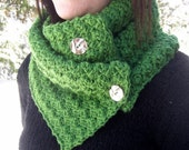Crochet Cowl - Button Up Scarf in Kelly Green with Silver Buttons