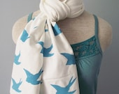 Hand Painted Turquoise Swallow Print Scarf