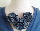 Fabric Rosette Flower Necklace in Denim
