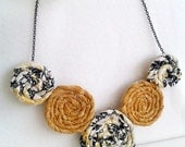 Fabric Rosette Flower Necklace - Vintage Floral Print and Mustard Yellow