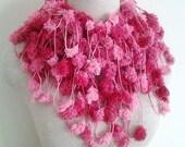 Raspberry Pink Pom Pom Scarf
