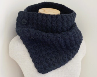 Crochet Cowl Scarf Neckwarmer in Navy Blue with Buttons