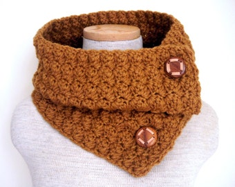 Crochet Cowl Scarf Neckwarmer in Honey with Vintage Wood Buttons