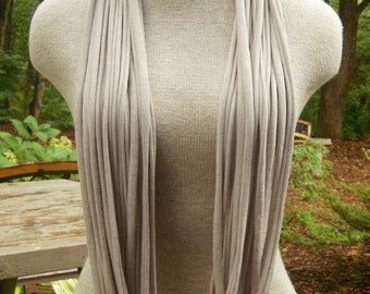 Jersey Tee Circle Scarf - Beige - Brown - Tan - Natural - Cream