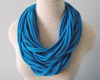 Jersey Tee Circle Scarf - Peacock Blue - Electric Blue