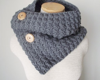 Crochet Cowl in COBBLESTONE GREY with Wooden Buttons