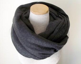 Fleece Infinity Scarf Cowl in Charcoal Grey - Unisex