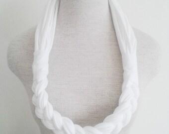 Half Braided Jersey Tee Scarf - White