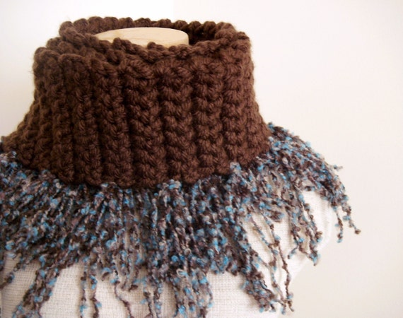 Crochet Cowl - Teal and Chocolate Twisted Thick Fringe Scarf Cowl
