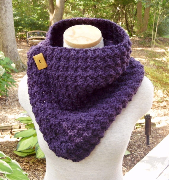 Crochet Cowl - Crocheted Scarf with Vintage Wood Buttons...You Choose From 42 Colors